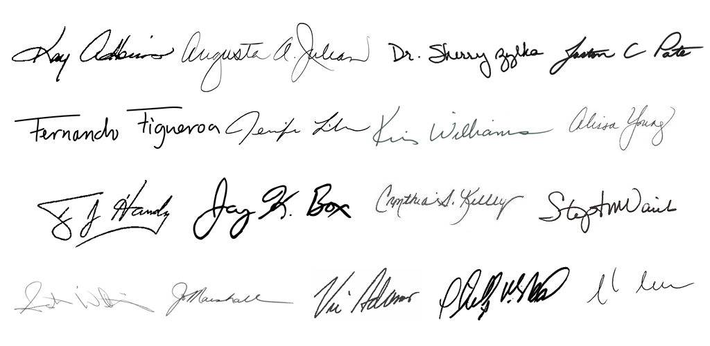 All college and system presidential signatures